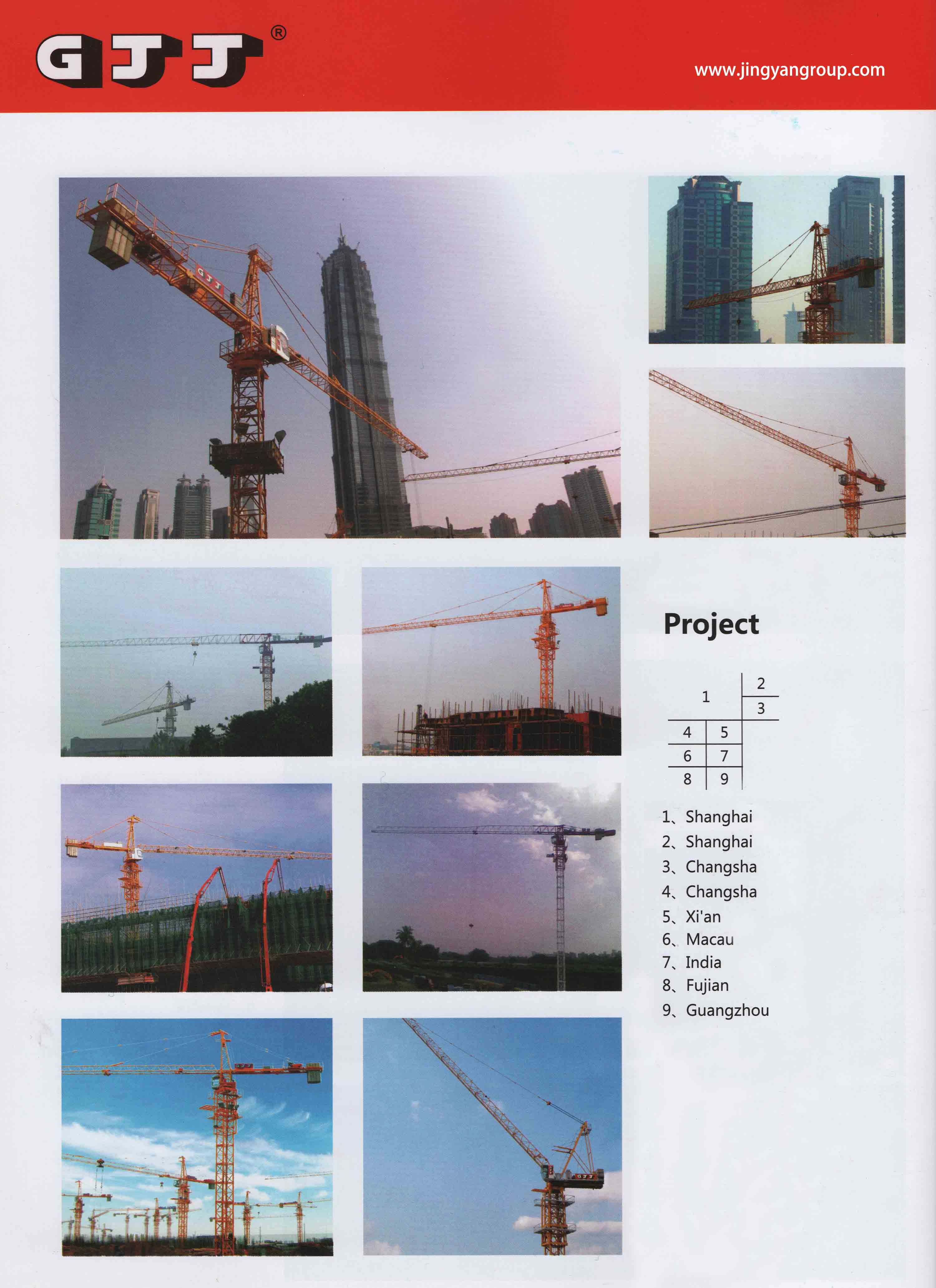 GJJ QTD160(5030) tower crane Luffing tower crane factory and
